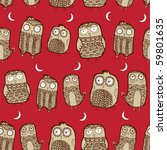 owl seamless background | Shutterstock .eps vector #59801635