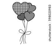 grayscale figure hearts... | Shutterstock .eps vector #598020983