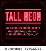 bright neon alphabet letters ... | Shutterstock .eps vector #598022798
