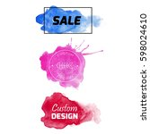 watercolor tag background... | Shutterstock .eps vector #598024610