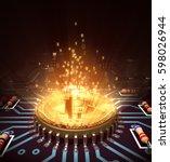concept of bitcoin like a... | Shutterstock . vector #598026944