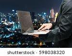 double exposure of electric... | Shutterstock . vector #598038320
