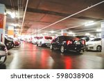 blurred of car parking in... | Shutterstock . vector #598038908