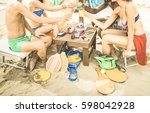 multiracial friends having fun... | Shutterstock . vector #598042928
