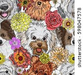Stock vector seamless pattern purebred cute character portrait dogs hand drawn vector wallpaper surface texture 598047578
