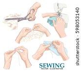 sewing. vector set. | Shutterstock .eps vector #598053140