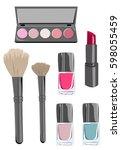 makeup icons. cosmetics set.... | Shutterstock .eps vector #598055459