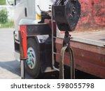 truck crane boom with hook. | Shutterstock . vector #598055798