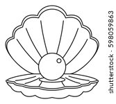 sea shell with pearl icon....   Shutterstock .eps vector #598059863