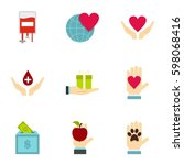 charity icons set. flat... | Shutterstock .eps vector #598068416