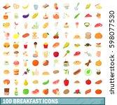 100 breakfast icons set in... | Shutterstock . vector #598077530