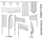 white blank flag mockup set... | Shutterstock .eps vector #598077593