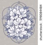 floral highly detailed hand... | Shutterstock .eps vector #598084484