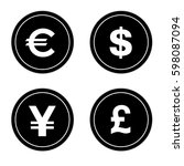 coin icons set   4 coins | Shutterstock .eps vector #598087094