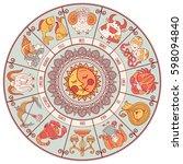 set of symbol zodiac sign.... | Shutterstock .eps vector #598094840
