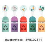 colorful collection of garbage... | Shutterstock . vector #598102574