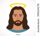 vector face of jesus on white... | Shutterstock .eps vector #598104278