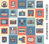 retro technology outline color... | Shutterstock .eps vector #598108823
