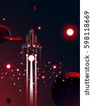 space shuttle with red sun... | Shutterstock .eps vector #598118669