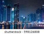 dubai marina by night | Shutterstock . vector #598126808