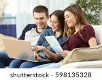 three friends planning a trip...   Shutterstock . vector #598135328