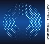 glowing halftone dots circle.... | Shutterstock .eps vector #598139390