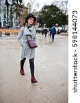young model tourist girl in a... | Shutterstock . vector #598144073