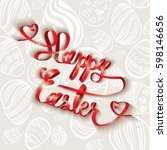 happy easter red ribbon with... | Shutterstock .eps vector #598146656