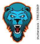 angry lion head mascot logo   Shutterstock .eps vector #598155869