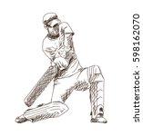hand drawn sketch of cricket...   Shutterstock .eps vector #598162070