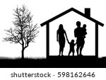silhouettes of family with... | Shutterstock .eps vector #598162646