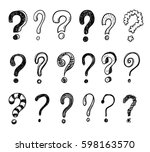 hand drawn doodle questions... | Shutterstock .eps vector #598163570