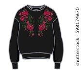 black women sweatshirt with... | Shutterstock .eps vector #598174670