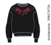 black women sweatshirt with... | Shutterstock .eps vector #598174724