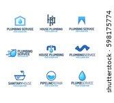 plumbing service logo set color ... | Shutterstock .eps vector #598175774
