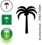 palm tree symbol sign and button | Shutterstock .eps vector #598176884
