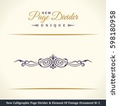 calligraphic page divider and... | Shutterstock . vector #598180958