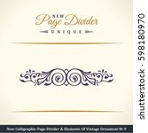 calligraphic page divider and... | Shutterstock . vector #598180970