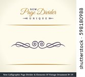 calligraphic page divider and... | Shutterstock . vector #598180988