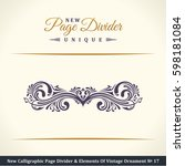 calligraphic page divider and... | Shutterstock . vector #598181084