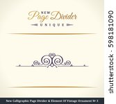 calligraphic page divider and... | Shutterstock . vector #598181090