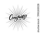 congrats hand written lettering ... | Shutterstock .eps vector #598183028