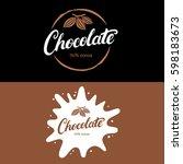 set of chocolate hand written... | Shutterstock .eps vector #598183673
