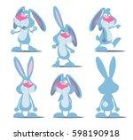 set of crazy rabbit. cartoon... | Shutterstock .eps vector #598190918