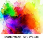 bright rainbow colored paints... | Shutterstock . vector #598191338