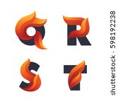 set of letters icons with fire... | Shutterstock .eps vector #598192238
