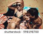 sexy bikini girls sunbathing... | Shutterstock . vector #598198700