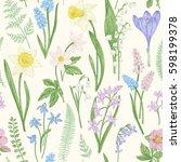 vintage seamless floral pattern.... | Shutterstock .eps vector #598199378