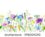 floral seamless border of a... | Shutterstock . vector #598204250