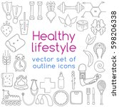 healthy lifestyle concept in... | Shutterstock .eps vector #598206338